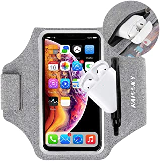 Cell Phone Armband with AirPods Bag, Running Armband for iPhone 12 pro max/11 Pro/XS/XR/X/8 7 Plus, Samsung S10 S9 S20 S21 up to 6.9