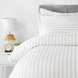 AmazonBasics Light-Weight Microfiber Duvet Cover Set - Twin/Twin XL, Grey Stripe