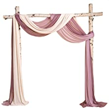 Ling's moment Wedding Arch Drapes for Ceremony Reception Backdrop Decorations (6 Yards Drapping Fabric, Blush+ Dusty Rose ...