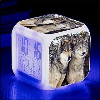 JIAHAOJJ Leverans djur väckarklocka varg djur barn upplyst LED lysande natt väckarklocka med lätt väckarklocka födelsedags...