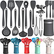 (Gray) - Silicone Cooking Utensil Kitchen Utensil Set, 24 Pcs Non-stick Cooking Utensils Spatula Set with Holder by AIKKI...