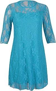 Rimi Hanger Ladies 3/4 Sleeve Floral Lace Dress Womens Fancy Crew Neck Party Wear Top Dress AU 14-28