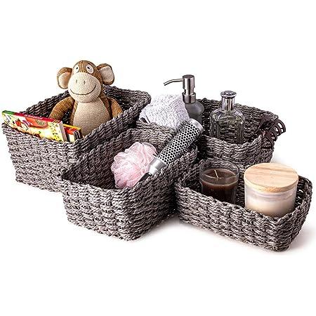 Lot de 4 paniers de rangement en corde tressée pour chambre d'enfant, cuisine, salle de bain (gris)