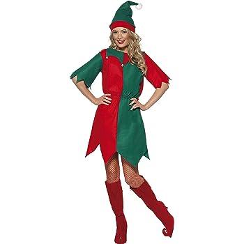 Smiffys Disfraz de elfa con gorro y túnica, Rojo y verde, Small ...