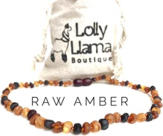 Raw Amber Teething Necklace for Babies (Unisex) Teething Pain Relief - Certified Genuine Baby Baltic Amber Necklace- Tri-Color