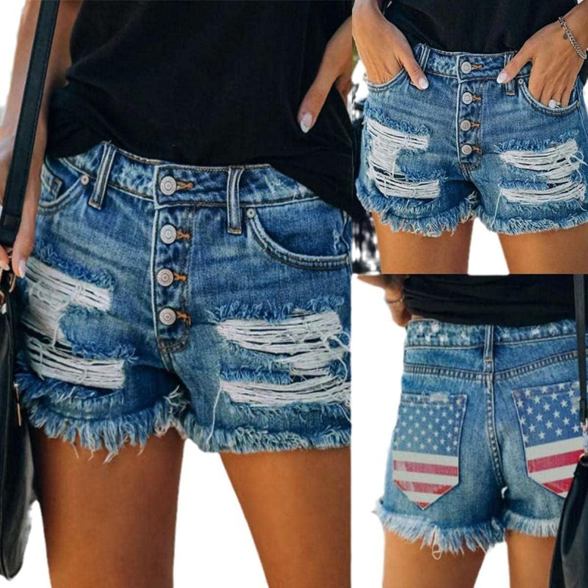 2021 Summer American Flag Star Print Ripped Raw Edge Denim Shorts