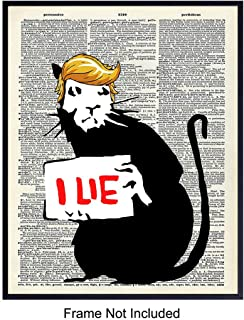 Anti-Trump Banksy Dictionary Wall Art, Home Decor - Vintage Art Print, Funny Room Decorations - Gift for Democrat, Feminist, LBGTQ, Liberalism, Resist Movement Fans, 8x10 Photo Unframed