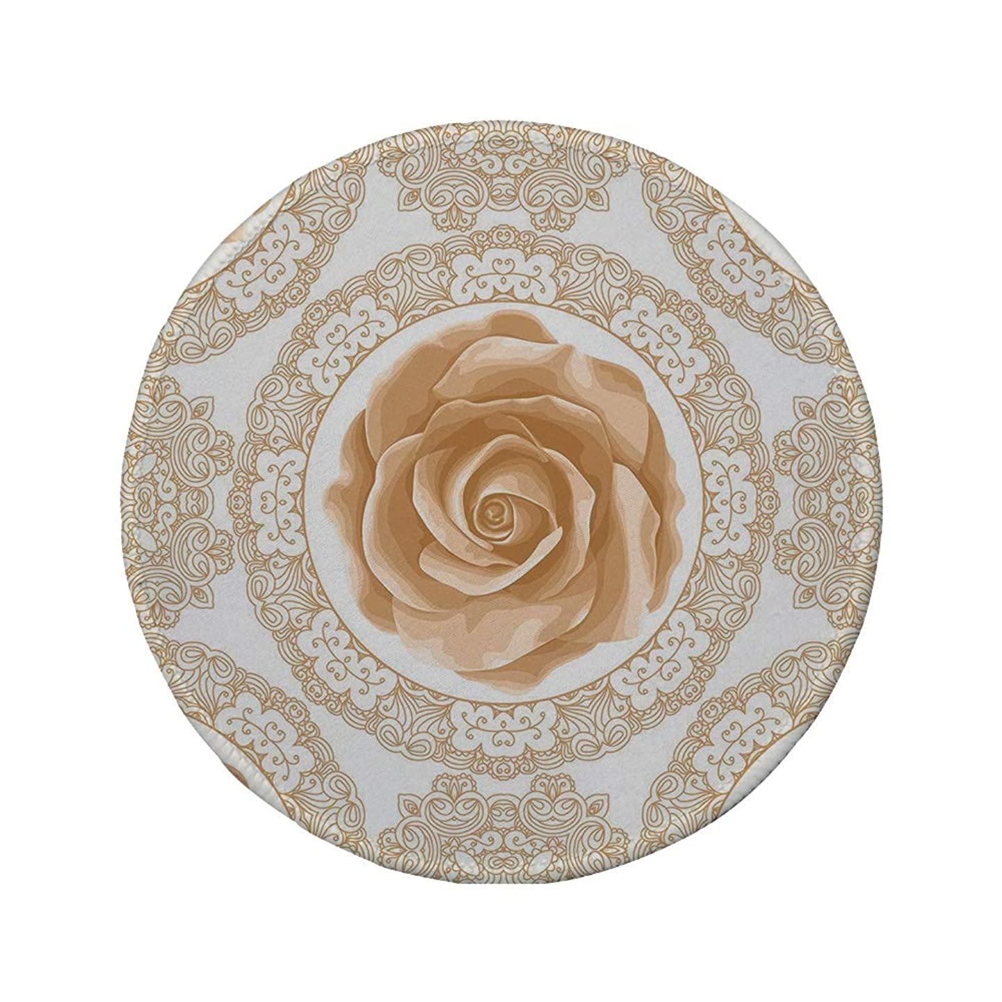 Non-Slip Rubber Round Mouse Pad,Floral,Rose Florets with Classic Golden Lace Authentic Feminine Retro Oriental Motif,Sand Brown White,7.87