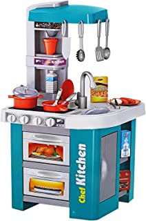 XIANGYU Talented chef Kitchen Set Role Play Sink with Running Water Stove with Fire Light And Sound Playset