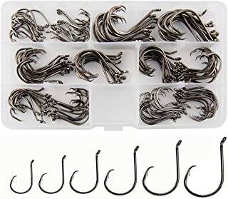 JSHANMEI 150pcs/box Circle Hooks 2X Strong Customized Offset Sport Circle Hooks Black High Carbon Steel Octopus Fishing Ho...
