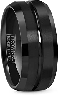 CROWNAL 4mm 6mm 8mm 10mm Black Tungsten Wedding Band Ring Men Women Beveled Edges Polished Grooved Center Comfort Fit Size...