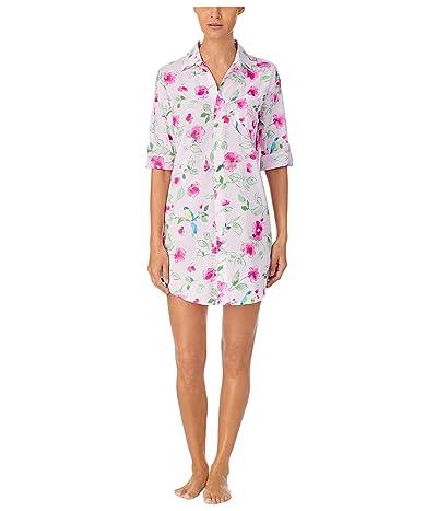 LAUREN Ralph Lauren Classic Wovens 3/4 Sleeve His Sleepshirt (Pink Floral) Women
