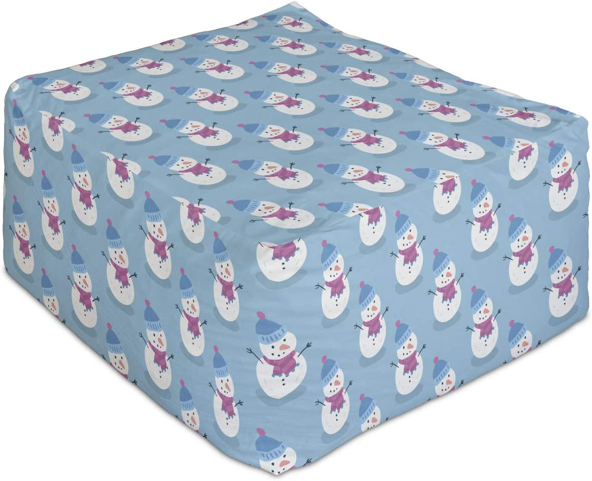 Ambesonne Winter Rectangle Pouf Christmas with Scarf Snowman an Max 54% OFF Popular shop is the lowest price challenge
