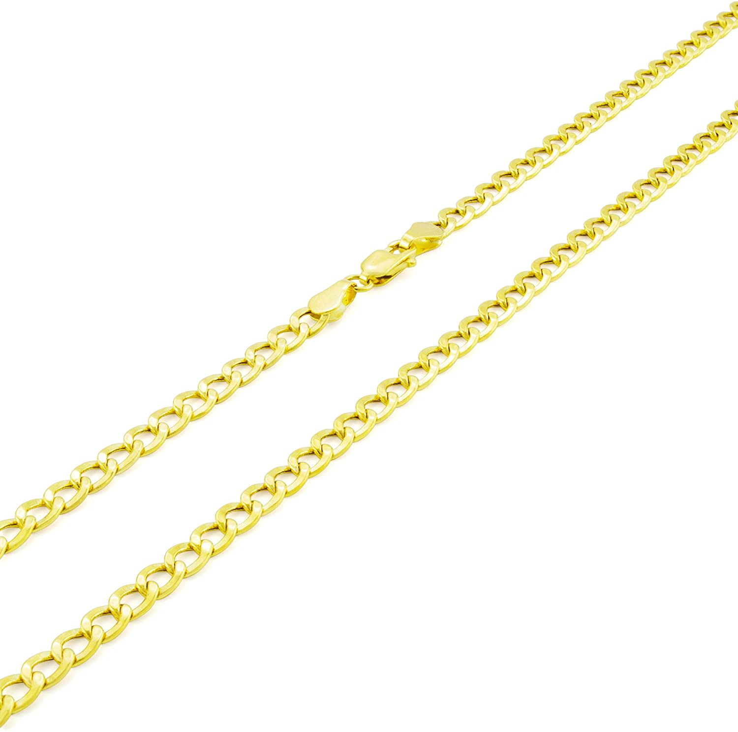 Nuragold 10k Yellow Gold 3.5mm Cuban Curb Link Chain Pendant Necklace, Mens Womens Lobster Lock 16