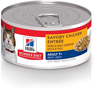 Hill's Science Diet Senior 7+ Canned Cat Food, Savory Chicken Entrée, 5.5 oz, 24 Pack wet cat food