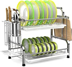 Dish Drying Rack, iSPECLE 304 Stainless Steel 2-Tier Dish Rack with Utensil Holder, Cutting Board Holder and Dish Drainer ...