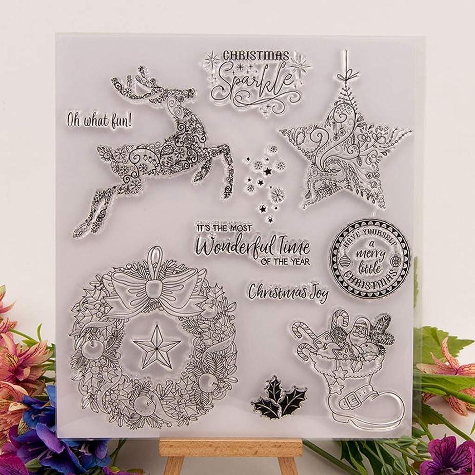 コインシェアスキーBaoyouls クリスマスエレメントクリアスタンプ、DIYスクラップブックエンボスアルバムインテリア、子供DIYギフト