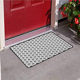 RelaxBear Moon Inlet Outdoor Door mat Crescent Moon Pattern with Flying Swallow Birds and Stars Cosmic Boho Gypsy Pattern Catch dust Snow and mud W19.7 x L31.5 Inch Black White