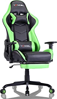 EVANCEL Silla Gaming Sillones de Oficina Reclinable Ergonomica con Acolchada Reposapiés Reposabrazos Reposacabezas para Gamer (Verde)
