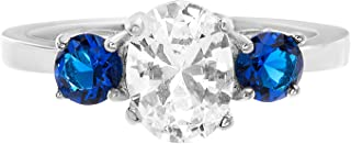 Devin Rose Sterling Silver Three Stone Cubic Zirconia and Simulated Sapphire Anniversary/Engagement Ring for Women (Various Styles)