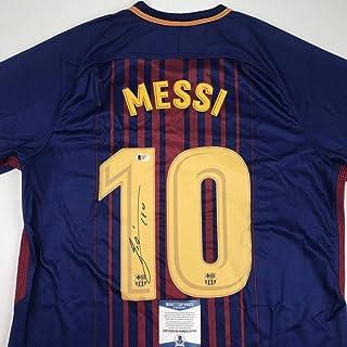 3fe58bb8a Autographed Signed Lionel Leo Messi FC Barcelona Blue Soccer Jersey Beckett  BAS COA Auto