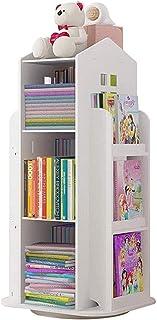 Bookcases 3-Tier Rotating 360° Bookshelf Children S Bookcase Floor Standing Storage Rack Shelf For Home Office White Books...