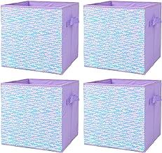 ELUCHANG Foldable Sequin Storage Basket Bin Closet Organizer Cubes Boxes for Nursery Home Drawer Organizer Clothes(4PCS,Pu...