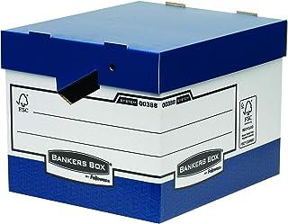 Fellowes 0038801 Caisses d'Archivage Flip Top à Charge Lourde avec Poignées Ergonomiques Bleu/Blanc - Lot de 10