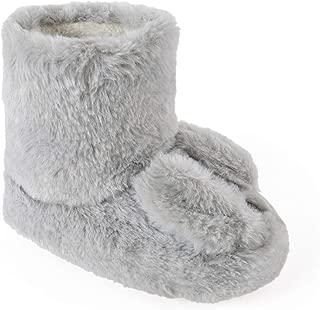 Slumberzzz Ladies Tufted Plush Button Bootie Slippers