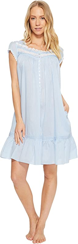 Cotton Rich Sheer Stripe Button Front Short Gown