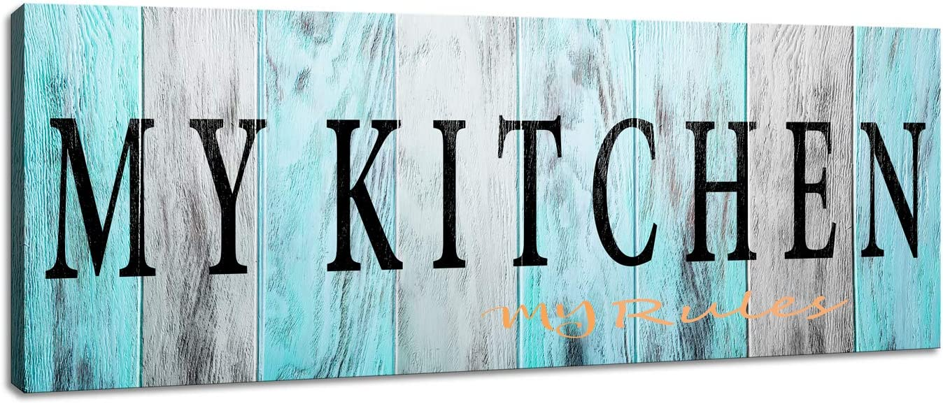 Wall Art for Kitchen Wall Decor Canvas Prints My Kitchen My Rules Signs Home Decor 1 Piece Size :6x17inch