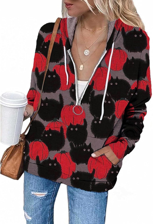 Hoodies for Women with Zipper Halloween Pumpkin Black Cat Drawstring Hooded Sweatshirts with Pocket Long Sleeve Pullover