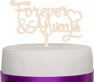 Ella Celebration Forever & Always Wooden Wedding Cake Topper Rustic Wood Decoration Toppers (Forever & Always)