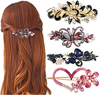 4 Packs Heart Shaped Crystal Butterfly Flower Vintage Hair Barrettes Peacock Rhinestones French Hair Clip Bridal Wedding Formal Event Jewelry Accessory for Women Girls