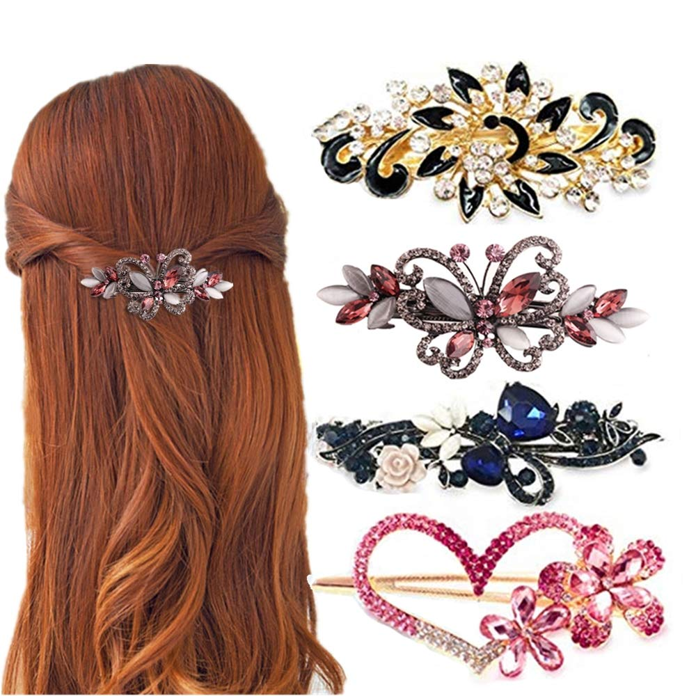 4 Packs Heart Import Shaped Crystal Flower Butterfly Directly managed store Hair Barre Vintage