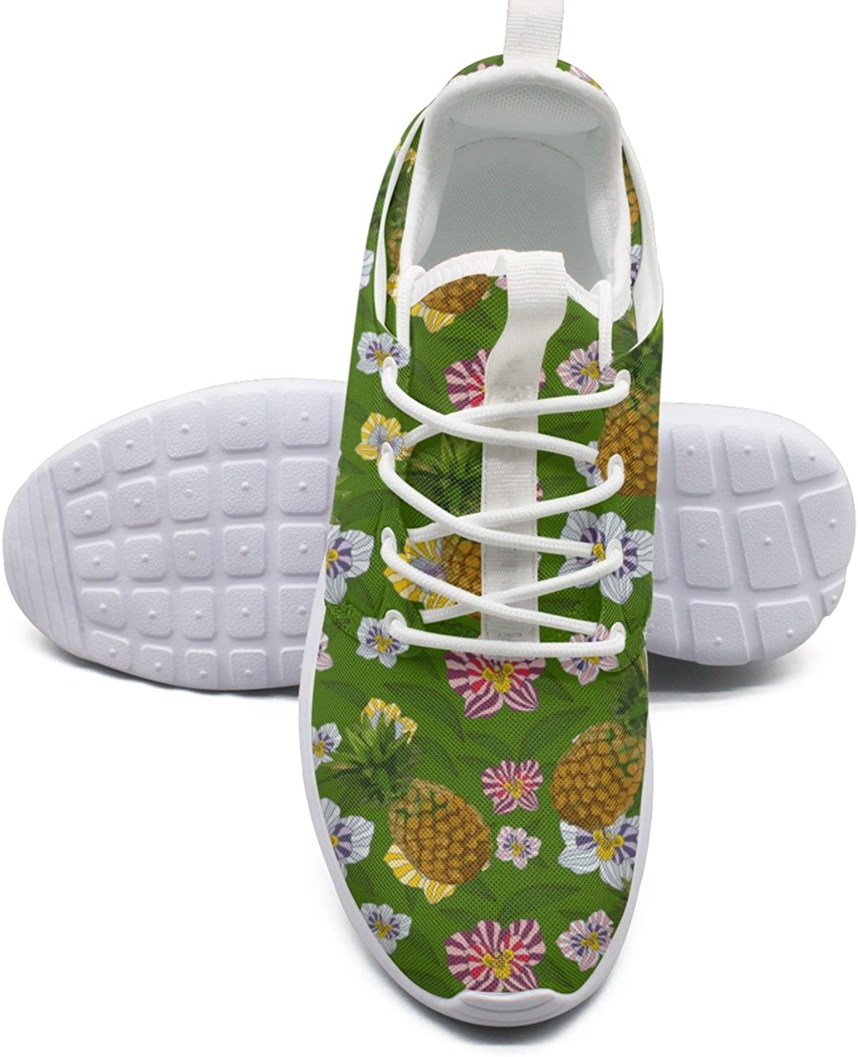 ERSER Pineapple and Flowers Tropical Leaves Thin Running shoes Women