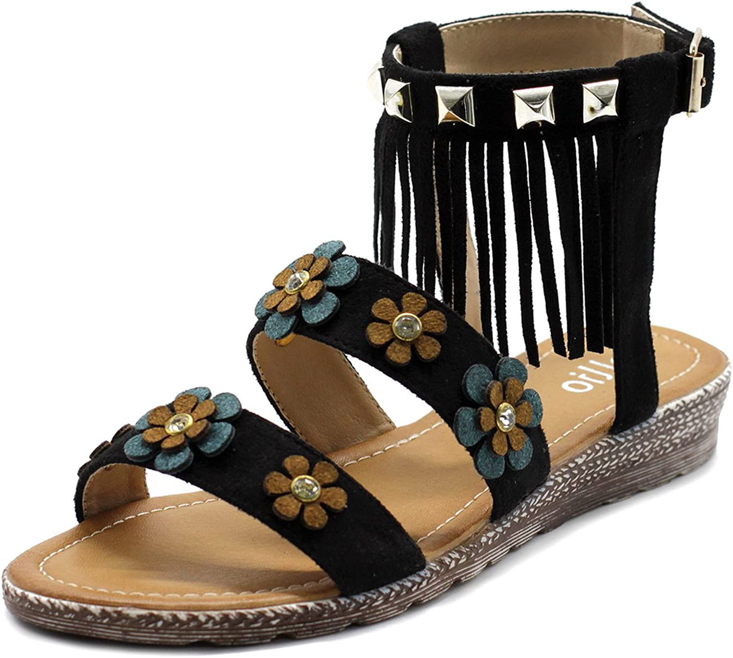Ollio Womens shoes Floral Ankle Fringe Strap Flat Sandal BN08(8.5 B(M) US, Black)