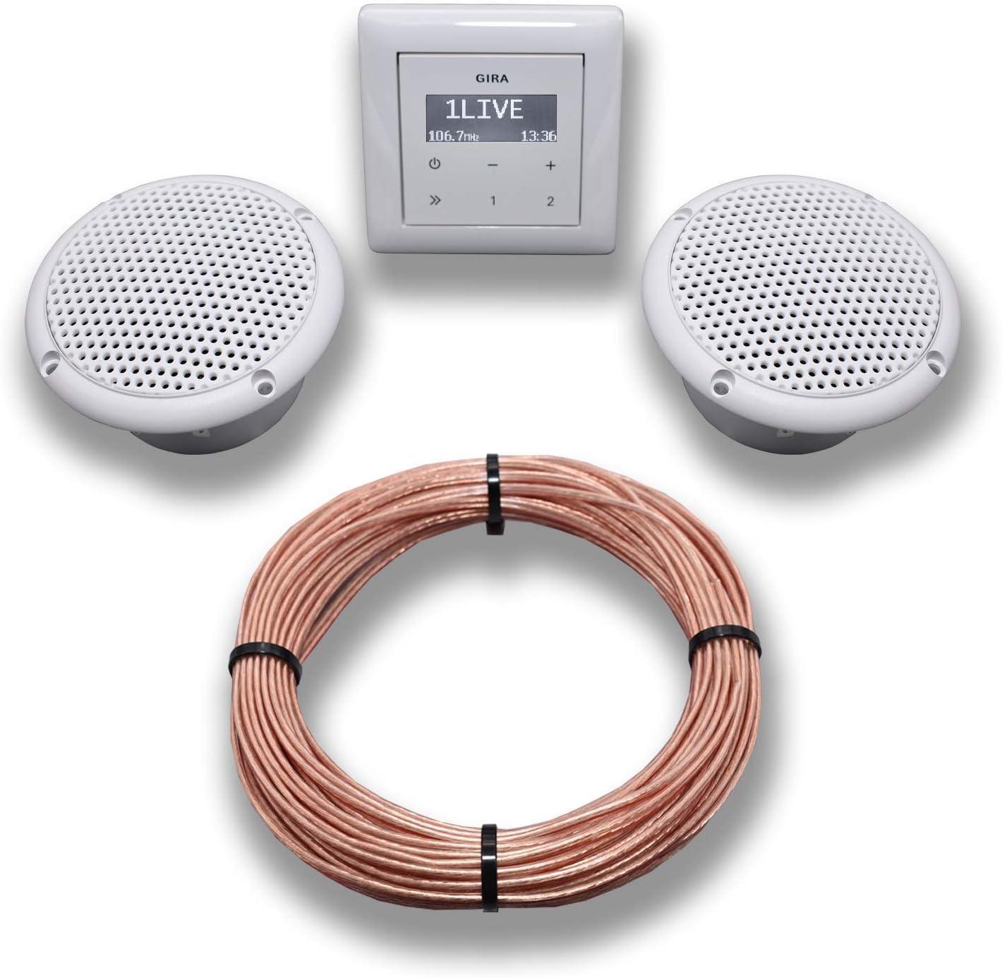 Gira Unterputz Radio Unterputzradio 200 reinweiß glänzend Komplett Set +  20 x Deckenlautsprecher weiß Feuchtraum/Badezimmer Einbaulautsprecher + ...