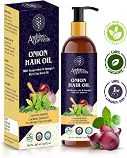 Aadidev Ayurveda Onion Oil for Hair Growth (With Peppermint & Omega-3 rich Flax Seed Oil); Anti Hair fall & Dandruff Control for Men & Women - 200ml