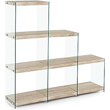 ARREDinITALY estantería de Escalera Cadera de Cristal Templado. estantes Efecto Madera Natural.: Amazon.es: Hogar