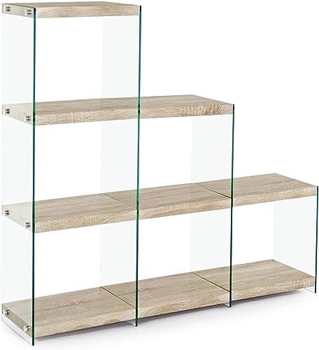 ARrotinITALY Bücherregal, Hüfte aus geh etem Glas. Regale in Naturholzoptik
