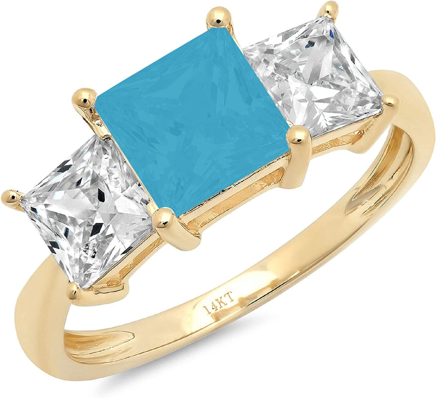 2.94ct Princess Cut 3 Stone Solitaire with Accent Flawless Ideal VVS1 Simulated Blue Turquoise CZ Engagement Promise Statement Anniversary Bridal Wedding Designer Ring 14k Yellow Gold
