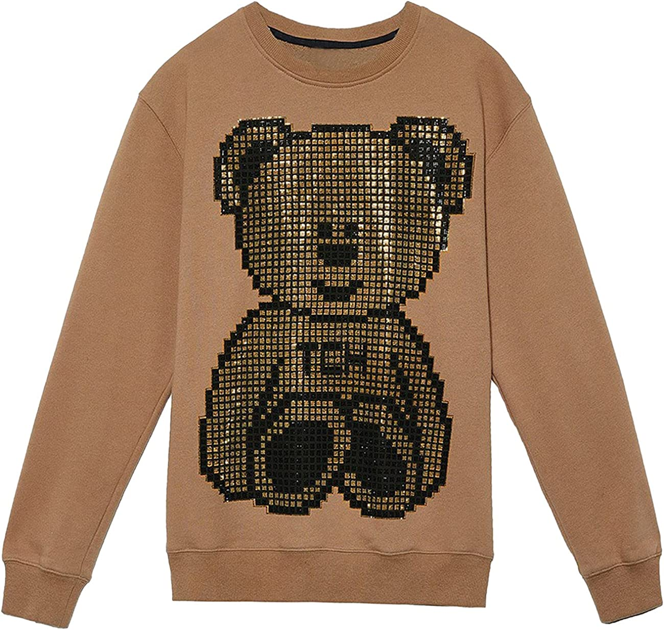 F/F·X Letter Bear Khaki Crew Neck Sweatshirt Round-Neck t-Shirt
