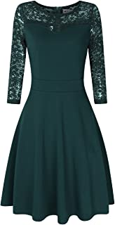 Women Sleeveless A Line Wedding Guest Dress Lace Fit and Flare Swing Dress