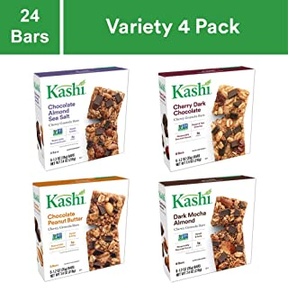 Kashi Chewy Granola Bars Variety Pack - Chocolate Almond Sea Salt | Cherry Dark Chocolate | Chocolate Peanut Butter | Dark Mocha Almond