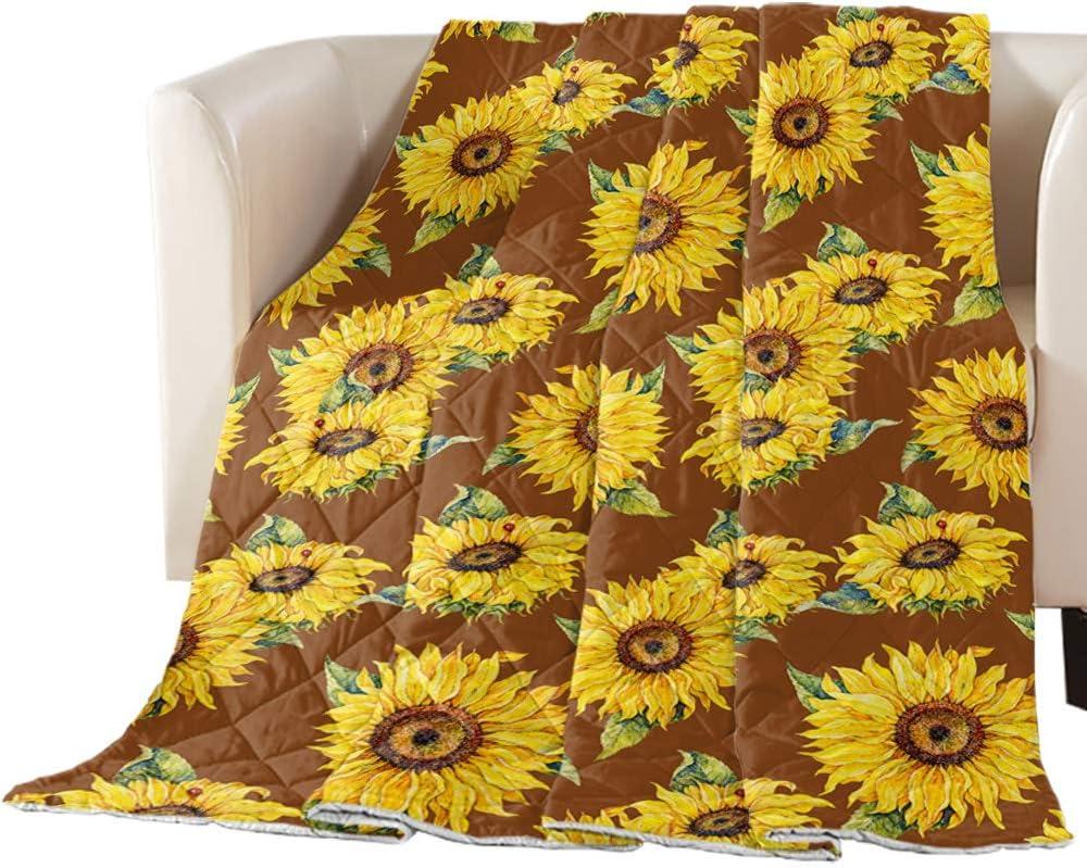 overseas TweetyBed Cotton Quilted Sunflower Watercolor Manufacturer regenerated product Comforter
