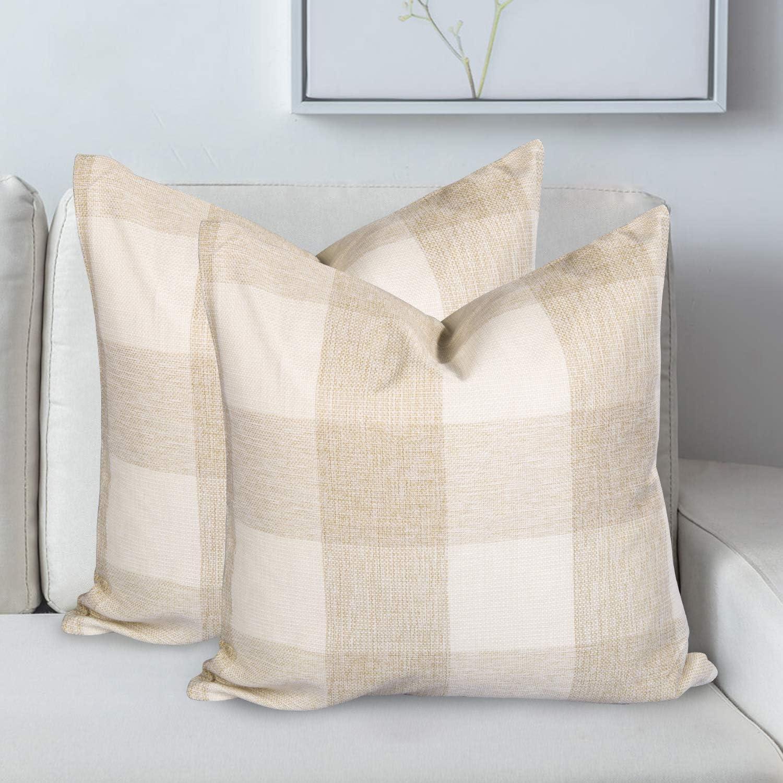 Sales for sale AGUDAN Don't miss the campaign Plaid Throw Pillow Covers - Decorative-Farmh Linen Cotton