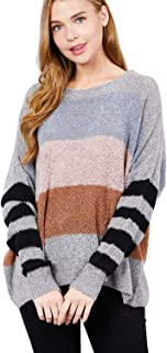 Bloom Angel Women's Long Sleeve Rainbow Striped Color Block Knitted Casual Loose Oversized Pullover Sweater Shirt Tops