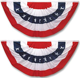 Pleated Fan Flag 2 Pack Patriotic American Bunting Flags for 4th of July/President's Day/Veterans Day/Memorial Day Decorat...