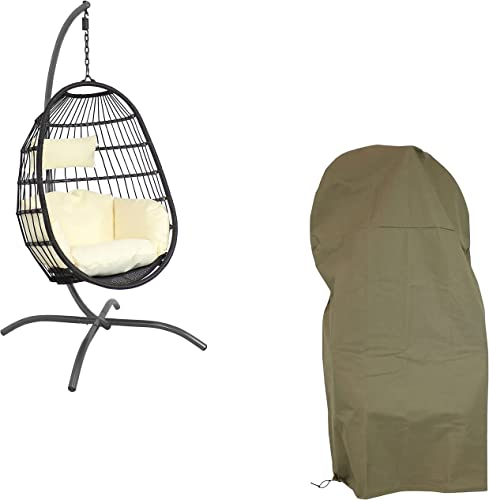 Sunnydaze Penelope Black Hanging Wicker Egg Chair with Cream Polyester Seat Cushions and 78-Inch Powder-Coated Stand and Khaki Weather-Resistant 600D Oxford Protective Cover Bundle